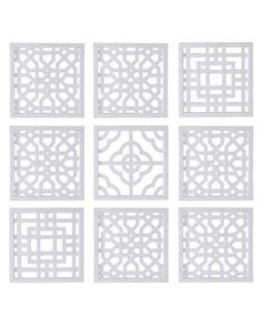 Nine Geometric Fretwork Wall Decor Panels