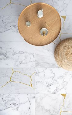 Chaji is a fascinating Marble Kintsugi Tile Effect Flooring design created by Atrafloor. This unique flooring is inspired Kintsugi – the ancient Japanese art of fixing broken materials like marble by filling in the cracks with gold. In doing so, the design becomes even more beautiful than before.
