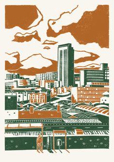 Sheffield City View poster-print (orange-green) by James Green