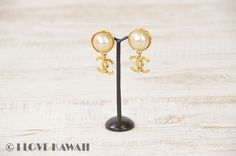 CHANEL CC Logo Gold Plated Clip On Earrings