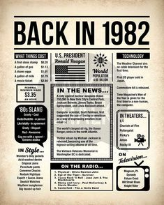 Back In 1982 Newspaper-Style DIGITAL Poster 1982 Birthday