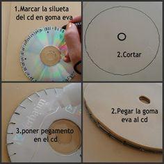 tutoriales de bisuteria DIY: Como hacer un disco kumihimo con un cd y goma eva