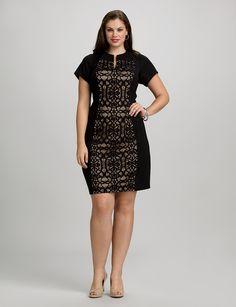 Plus Size | Dresses | Cocktail Dresses | Plus Size Lace Panel Dress | dressbarn