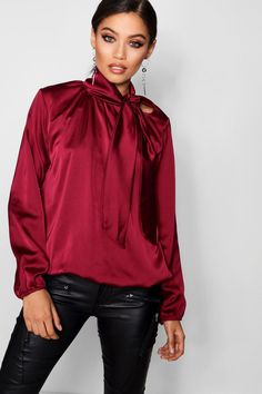 97179062ae92cc Click here to find out about the Pussy Bow Satin Blouse from Boohoo