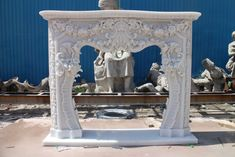 INCREDIBLE HAND CARVED MARBLE FRENCH STYLE ESTATE FIREPLACE MANTEL - ZB-F003 Marble Fireplace Mantel, Marble Fireplaces, Fireplace Mantels, Living Room Furniture, Living Rooms, French Style, Hand Carved, Carving, The Incredibles