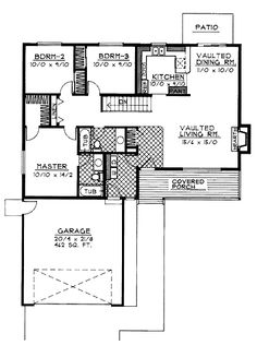 Home Plans HOMEPW06989 - 1,314 Square Feet, 3 Bedroom 2 Bathroom Country Home with 2 Garage Bays