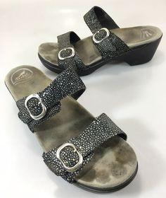 Dansko Womens 41 EU 10.5-11 US Sophie Black Shagreen 2 Strap Slide Sandals #Dansko #Slides #Casual