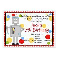 Robot Birthday Invitations Robot Birthday Invitation