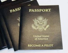 """Hangar birthday party passport - by working their way through flight/plane related stations, the kids earned """"stamps"""" toward becoming a pilot."""