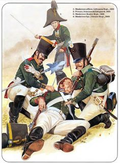 Russia; Line Infantry 1805. Rear- Musketeer Officer, Lithuanian Regt. Front L to R Musketeer Sergeant Ukraine Regt, Private Semenovski Lifeguards & Musketeer Rostov Regt.