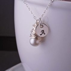 Sterling Silver Wrapped Pearl Initial Necklace by georgiedesigns