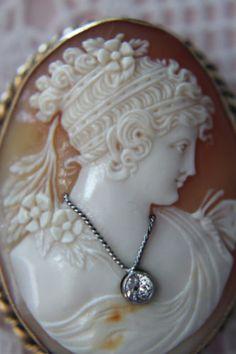 FINE DETAIL 14K PSYCHE HABILLE CAMEO BROOCH PENDANT DIAMOND APP. .18ct. EARRINGS in Jewelry & Watches, Vintage & Antique Jewelry, Fine, Retro, Vintage 1930s-1980s, Earrings | eBay