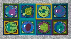 """Underwater Friends Fish Panel Purple from @fabricdotcom  Designed by The Whimsical Workshop for Andover, this cotton print panel is perfect for quilting and home décor accents. The panel measures 23"""" x 44"""", with each circle measuring about 7.5"""" in diameter. Colors include black, blue,gold, purple, green,turquoise and white."""