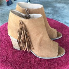 Peep toe booties boots Only worn once peep toe bootie boots very cute and trendy size 9! Shoes Heeled Boots