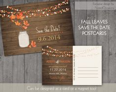 Rustic Fall Save the Date Postcards  |  Fall Leaves in Mason Jar on Rustic Wood Grain | Fall Leaves Wedding Save the Date cards-Magnets too by NotedOccasions on Etsy https://www.etsy.com/listing/188369851/rustic-fall-save-the-date-postcards-fall