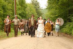 SarahKat & Ryan's Firefly and steampunk Maine woods wedding | Offbeat Bride