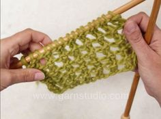 Here is one of the easiest lace patterns, a 2 row repeat only. Great for beginners and mindless lace knitting.Perfect for scarves and any type of yarn. Cast on an even number of stitches. Row 1: K1, *yo, K2 tog*, repeat *-* end row with K1. Row 2: K all sts and yo on row. Repeat row 1-2 for pattern.