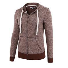 HARBETH Womens Basic Soft Zip Up Fleece Long Sleeve Pocket Hoodie Sweater Jacket Brown Melange XS