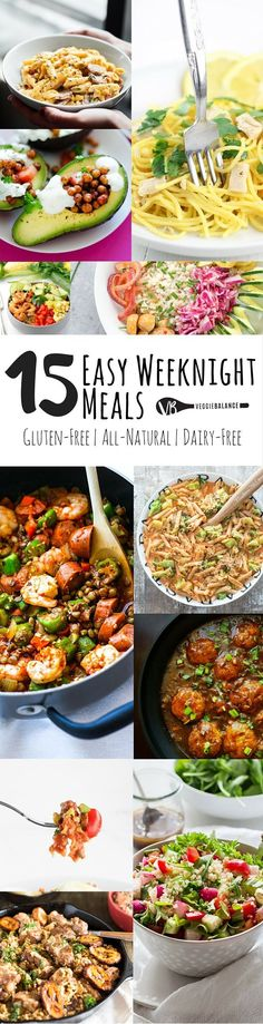 15 Easy Weeknight Meals recipe compilation to make those weeknights dinner that much easier to get through. All gluten-free dinners, some dairy-free and vegan, but no doubt, every single dish is out of this world easy and delicious. recipes juice plus Dairy Free Diet, Dairy Free Recipes, Vegetarian Recipes, Healthy Recipes, Easy Recipes, Snacks Recipes, Gluten Free Dinners, Gluten Free Meals, Kraft Recipes
