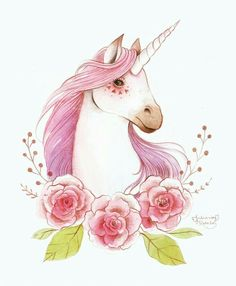 Unicorn. Animals flowers