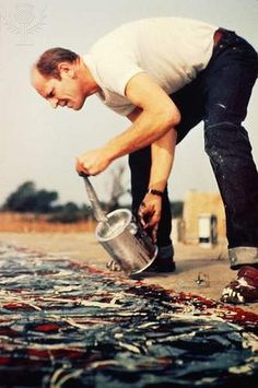 Learn about the king of 'Action Painting' and the drip technique, Jackson Pollock. Action Painting, Drip Painting, Painting Abstract, Painting Process, Paintings Famous, Famous Artists, Famous Abstract Artists, Oil Paintings, Artist Art