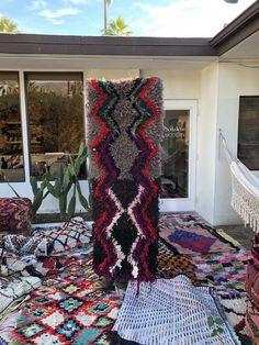 Vintage Berber rug sold by soukie modern in Palm Springs shop.
