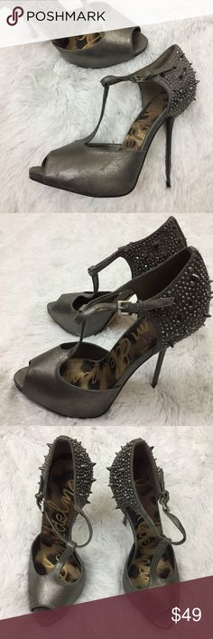 """Sam Edelman Scarlett dk silver studded pumps 7.5 These Sam Edelman dark silver spiked and studded rhinestone heels are a classic t-strap style with an edgy flair. They are in good overall condition with light overall wear and no flaws.  They are a Women's size 7.5M and they have a 5"""" heel. Sam Edelman Shoes Heels"""