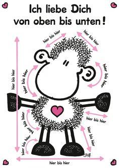 Ich liebe dich von oben bis unten! | sheepworld | Echte Postkarten online…