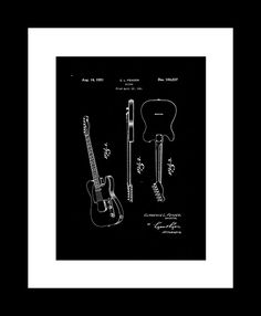 1951 Patent for the Fender Telecaster as free printable wall art! // Free Art Download: 8 Vintage Patent Designs - Primer