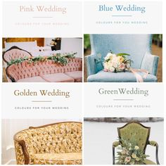 we have a lot of really great colour options. These are the first four of our colour guides! I'll be working on some more guides super soon! Let us know what ya think! Images here by: (green) (gold) (blue) (pink) . Wedding Events, Wedding Day, Colour Inspiration, Calgary, Event Decor, Color Trends, Vintage Furniture, Event Design, Special Events
