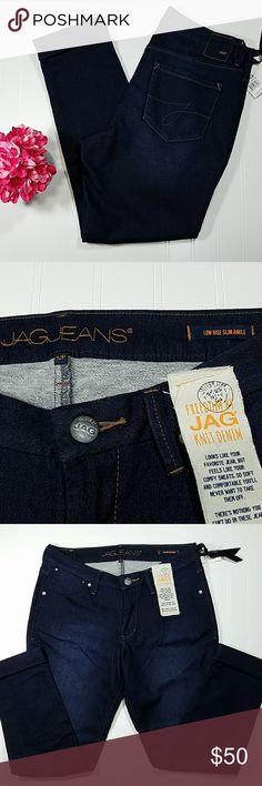 JAG jeans Low rise, slim ankle with cuff, super dark denim, front and back pockets, inseam is 25 1/2, NEW WITH TAGS,  Sz 12P Jag Jeans Jeans