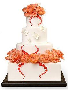 Cake Alchemy Orange Roses Butterflies Wedding Cake