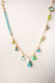 Key012N unique handcrafted designer apatite pearl chalcedony adjustable layer necklace for women