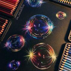 ideas color pencil Bubble drawing is finally complete!❤️ Prismacolor soft core pencils on black. Bubble drawing is finally complete!❤️ Prismacolor soft core pencils on black Strathmore paper!✍ Which bubble is your favorite one? Colorful Drawings, Cool Drawings, Bubble Drawing, Bubble Art, Bubble Painting, Black Paper Drawing, Color Pencil Art, Art Techniques, Art Tutorials