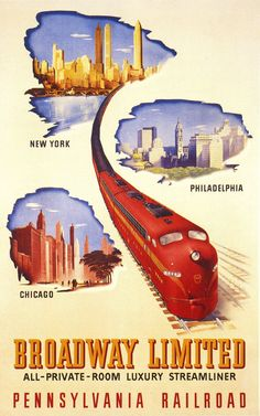 Broadway Limited - New York, Philadelphia, Chicago - Pennsylvania Railroad - 1953 -