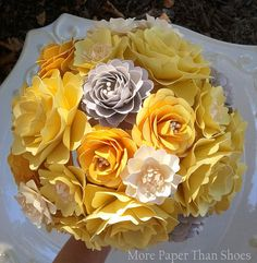 Gray+and+Yellow+Wedding+Bouquets   Paper Flower Bouquet - Wedding Bouquet - Yellow and Grey - Custom Made ...