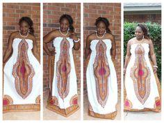 African print  Ankara - White Angelina Dashiki dress