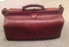 Vintage Brown Doctors Leather Large 18  Gladstone Bag - Initials A.H.B. Antique