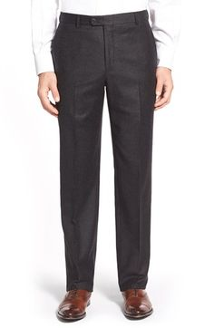 Hickey Freeman 'B Series' Flat Front Solid Wool & Cashmere Trousers