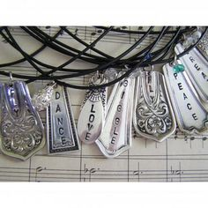 <3 <3 <3 fork/knife handle jewelry with sayings! could make with metal stamps & thrift store utensils
