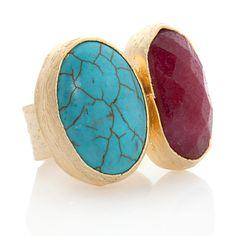 Universal Vault Red and Turquoise-Color Two-Stone Goldtone#HSN #FallFashion