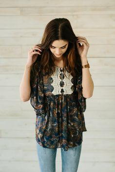 Babydoll Blouse with Lace Detail- Navy