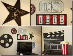 Red Hen Home: Movie signs, cute for family room Red Hen Home: Movie signs, cute for family room – Heimkino Systemdienste Home Theatre, Kino Theater, Media Room Decor, Media Rooms, Movie Theater Decor, Basement Remodel Diy, Basement Ideas, Basement Shelving, Basement Ceilings