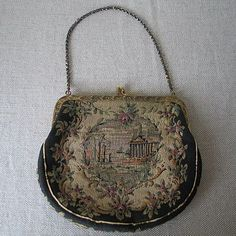 Antique Art Nouveau Gold Daisy Filigree Frame Brown Copper Iridescent Bead Purse Fashionable Style; In
