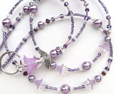 Hey, I found this really awesome Etsy listing at https://www.etsy.com/listing/263352521/lavender-angel-beaded-id-lanyard-badge