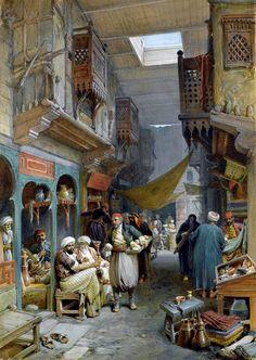 The Bazaar at Mombassa. Bazaar , Suez , 1884 By William Simpson - British , 1823 - 1899 Watercolor on paper . Egypt Art, Old Egypt, Empire Ottoman, Arabian Art, Islamic Paintings, Turkish Art, Realistic Paintings, Historical Art, Islamic Art
