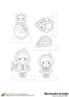 Dessin à colorier de marionnettes de doigts, le Pôle Nord - Hugolescargot.com