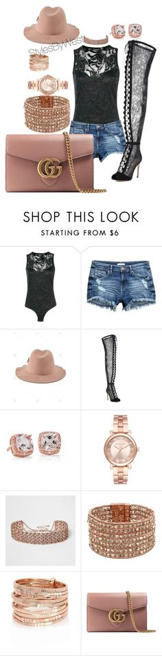 """""""Lacey Rose Gold"""" by ebony-west ❤ liked on Polyvore featuring Boohoo, Gianvito Rossi, Blue Nile, Michael Kors, River Island, Kenneth Cole and Gucci"""