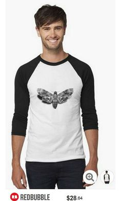 Death's-Head Hawkmoth Baseball Shirt #artbyurte