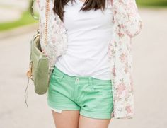 bag, beautiful, clothes, fashion, floral, girl, hair, outfit, pretty, shorts, style